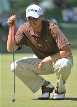 MEMPHIS, TN - JUNE 07:  Bill Haaslines up a birdie putt on the 17th hole during the third round of the Standford St. Jude Championship at the TPC Southwind on June 7, 2008 in Memphis, Tennessee.  (Photo by Marc Feldman/Getty Images)