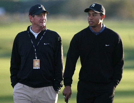 MARANA, AZ - FEBRUARY 19:  Tiger Woods walks with his coach Hank Haney during a practice round prior to the start of the Accenture Match Play Championship at The Gallery Golf Club at Dove Mountain on February 19, 2008 in Marana, Arizona.  (Photo by Scott Halleran/Getty Images)
