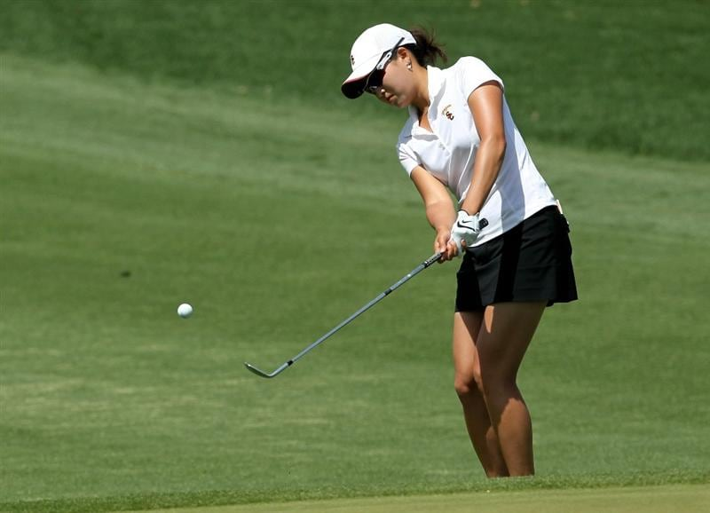 RANCHO MIRAGE, CA - APRIL 03:  Jennifer Song chips onto the green on the second hole during the third round of the Kraft Nabisco Championship at Mission Hills Country Club on April 3, 2010 in Rancho Mirage, California.  (Photo by Stephen Dunn/Getty Images)