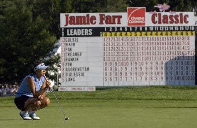 Mi Hyun Kim waits her turn to putt on the 18th green during the final round of the Jamie Farr Owens Corning Classic at Highland Meadows Golf Club in Sylvania, Ohio, on Sunday, July 16, 2006.Photo by Steve Levin/WireImage.com