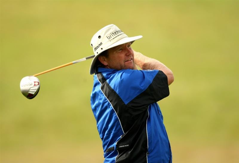 NEWPORT, WALES - JUNE 05:  Alan McLean of Scotland tee's off at the 11th during the second round of the Celtic Manor Wales Open on the 2010 Course at The Celtic Manor Resort on June 5, 2009 in Newport, Wales.  (Photo by Richard Heathcote/Getty Images)