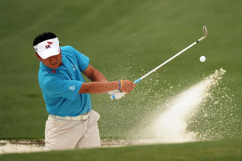 AUGUSTA, GA - APRIL 09:  K.J. Choi of South Korea plays a bunker shot on the second hole during the third round of the 2011 Masters Tournament at Augusta National Golf Club on April 9, 2011 in Augusta, Georgia.  (Photo by Harry How/Getty Images)
