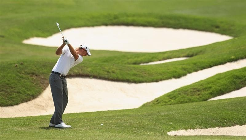 CHENGDU, CHINA - APRIL 23:  Nicolas Colsaerts of Belgium in action during day three of the Volvo China Open at Luxehills Country Club on April 23, 2011 in Chengdu, China.  (Photo by Ian Walton/Getty Images)
