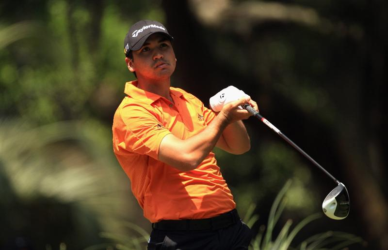 HILTON HEAD ISLAND, SC - APRIL 23:  Jason Day of Australia reacts to his tee shot on the 2nd hole during the third round of The Heritage at Harbour Town Golf Links on April 23, 2011 in Hilton Head Island, South Carolina.  (Photo by Streeter Lecka/Getty Images)