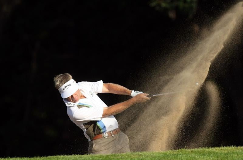 CHASKA, MN - AUGUST 13:  Stuart Appleby of Australia plays a bunker shot on the tenth hole during the first round of the 91st PGA Championship at Hazeltine National Golf Club on August 13, 2009 in Chaska, Minnesota.  (Photo by David Cannon/Getty Images)