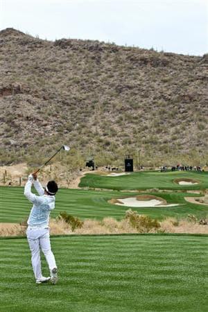 MARANA, AZ - FEBRUARY 26:  Y.E. Yang of South Korea hits his tee shot on the 15th hole during the quarterfinal round of the Accenture Match Play Championship at the Ritz-Carlton Golf Club on February 26, 2011 in Marana, Arizona.  (Photo by Sam Greenwood/Getty Images)