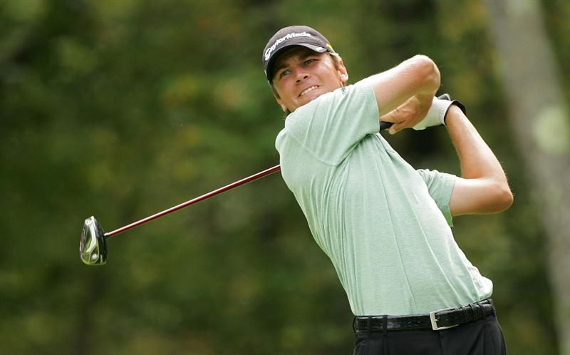 NORTON, MA - SEPTEMBER 07: Sean O'Hair hits his drive on the second hole during the final round of the Deutsche Bank Championship at TPC Boston held on September 7, 2009 in Norton, Massachusetts.  (Photo by Michael Cohen/Getty Images)