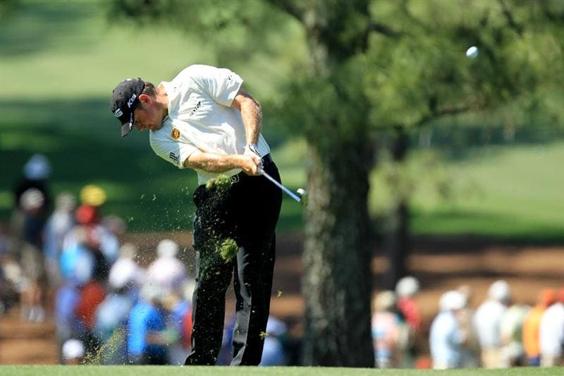 AUGUSTA, GA - APRIL 07:  Lee Westwood of England hits his second shot to the 17th green during the first round of the 2011 Masters Tournament at Augusta National Golf Club on April 7, 2011 in Augusta, Georgia.  (Photo by David Cannon/Getty Images)