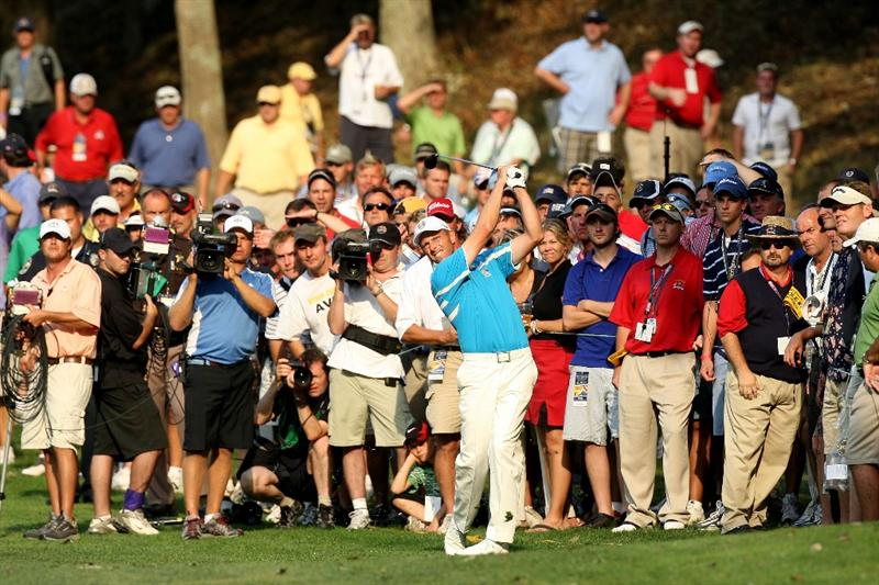 LOUISVILLE, KY - SEPTEMBER 20:  Soren Hansen of the European team hits his second shot on the 16th hole during the afternoon four-ball matches on day two of the 2008 Ryder Cup at Valhalla Golf Club on September 20, 2008 in Louisville, Kentucky.  (Photo by David Cannon/Getty Images)