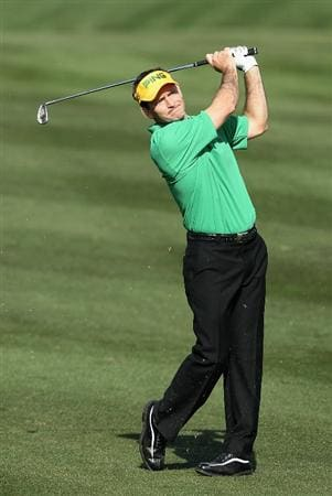 SCOTTSDALE, AZ - FEBRUARY 06:  Mark Wilson hits his second shot on the 14th hole during the third round of the Waste Management Phoenix Open at TPC Scottsdale on February 6, 2011 in Scottsdale, Arizona.  (Photo by Christian Petersen/Getty Images)