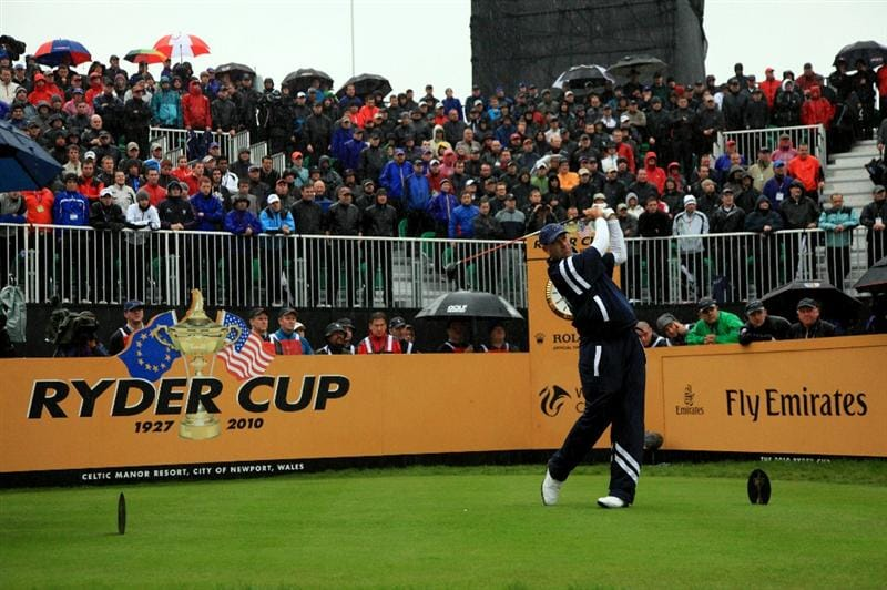 NEWPORT, WALES - OCTOBER 01:  Stewart Cink of the USA tees off on the first hole during the Morning Fourball Matches during the 2010 Ryder Cup at the Celtic Manor Resort on October 1, 2010 in Newport, Wales.  (Photo by David Cannon/Getty Images)