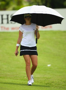 SINGAPORE - FEBRUARY 28:  Paula Creamer of USA walks to her ball on the ninth hole during the first round of the HSBC Women's Champions at Tanah Merah Country Club on February 28, 2008 in Singapore.  (Photo by Andrew Redington/Getty Images)