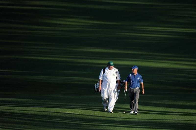 AUGUSTA, GA - APRIL 08:  Nathan Green of Australia walks with his caddie Shannon Wallis on the second hole during the first round of the 2010 Masters Tournament at Augusta National Golf Club on April 8, 2010 in Augusta, Georgia.  (Photo by Harry How/Getty Images)