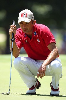TULSA, OK - AUGUST 10:  Markus Brier of Austria lines up a putt during the second round of the 89th PGA Championship at the Southern Hills Country Club on August 10, 2007 in Tulsa, Oklahoma.  (Photo by Stuart Franklin/Getty Images)