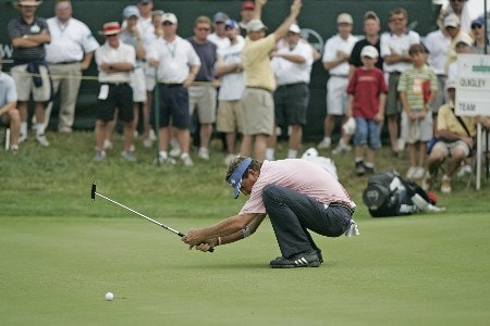 Dana Quigley reacts to a missed putt during the final round of the Bayer Advantage Classic held at LionsGate Golf Course in Overland Park, KS, June 12, 2005.Photo by G. Newman Lowrance/WireImage.com