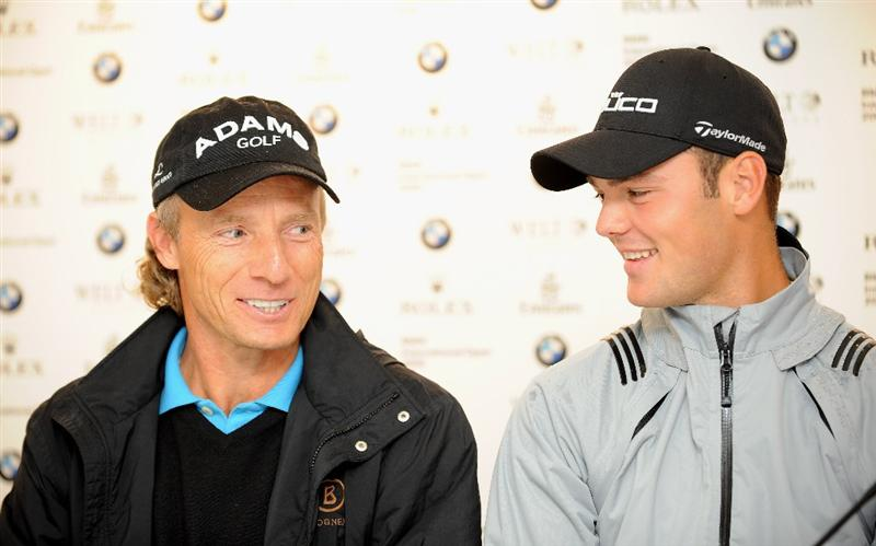 MUNICH, GERMANY - JUNE 23:  Bernhard Langer of Germany and defending champion Martin Kaymer of Germany during a press conference prior to The BMW International Open Golf at The Munich North Eichenried Golf Club on June 23, 2009, in Munich, Germany.  (Photo by Stuart Franklin/Getty Images)