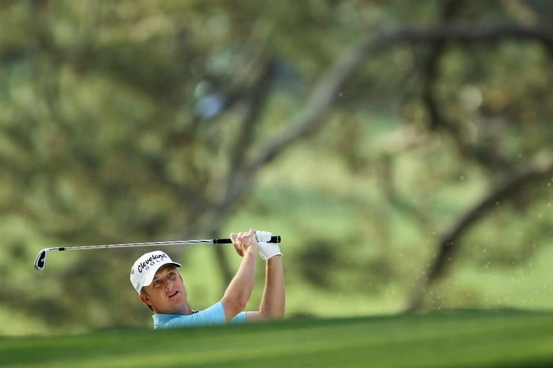 AUGUSTA, GA - APRIL 08:  David Toms hits his second shot on the first hole during the first round of the 2010 Masters Tournament at Augusta National Golf Club on April 8, 2010 in Augusta, Georgia.  (Photo by Jamie Squire/Getty Images)