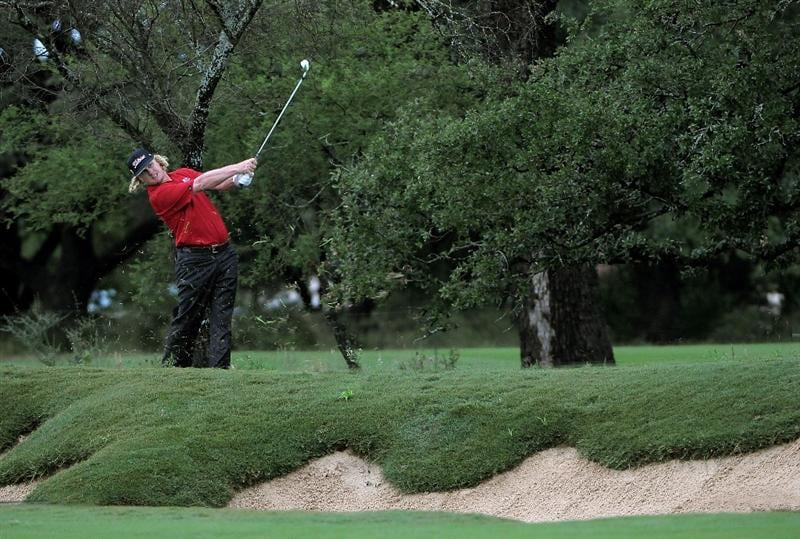 SAN ANTONIO, TX - MAY 15: Charley Hoffman hits his approach shot into the 2nd hole  during the second round of the Valero Texas Open at the TPC San Antonio on May 15, 2010 in San Antonio, Texas. (Photo by Marc Feldman/Getty Images)