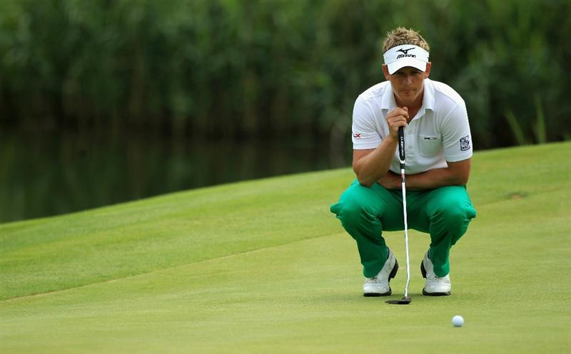 NEWPORT, WALES - JUNE 05:  Luke Donald of England lines up a putt on the third green during the third round of the Celtic Manor Wales Open on The Twenty Ten Course on June 5, 2010 in Newport, Wales.  (Photo by Warren Little/Getty Images)