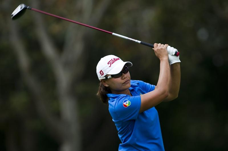 CHON BURI, THAILAND - FEBRUARY 19:  Russy Gulyanamitta of Thailand tees off on the 9th hole during round two of the Honda LPGA Thailand at the Siam Country Club on February 19, 2010 in Chon Buri, Thailand.  (Photo by Victor Fraile/Getty Images)