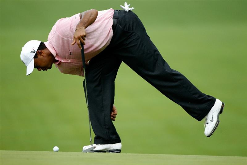 DUBLIN, OH - JUNE 05:  Tiger Woods looks down at the second green during the third round of the Memorial Tournament presented by Morgan Stanley at Muirfield Village Golf Club on June 5, 2010 in Dublin, Ohio.  (Photo by Scott Halleran/Getty Images)