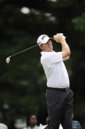 BETHESDA, MD - JULY 03:  Tim Petrovic hits his tee shot on the 12nd hole during the second round of the AT&T National at the Congressional Country Club on July 3, 2009 in Bethesda, Maryland  (Photo by Mitchell Layton/Getty Images)