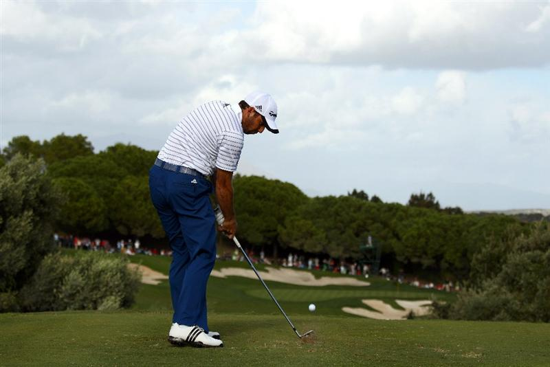 SOTOGRANDE, SPAIN - OCTOBER 31:  Sergio Garcia of Spain tee's off at the 15th during the final round of the Andalucia Valderrama Masters at Club de Golf Valderrama on October 31, 2010 in Sotogrande, Spain.  (Photo by Richard Heathcote/Getty Images)