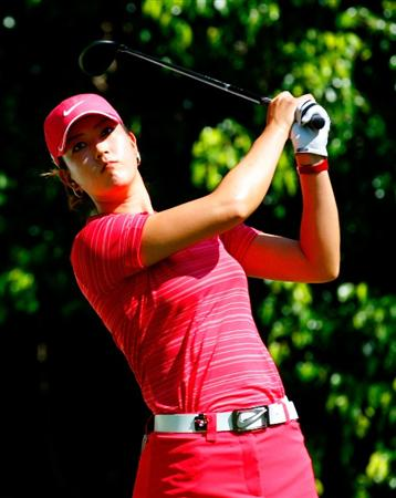 GUADALAJARA, MEXICO - NOVEMBER 15:  Michelle Wie of the United States tees off the fifth hole during the final round of the Lorena Ochoa Invitational Presented by Banamex and Corona at Guadalajara Country Club on November 15, 2009 in Guadalajara, Mexico.  (Photo by Kevin C. Cox/Getty Images)