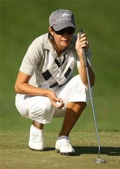 REUNION, FLORIDA - APRIL 17:  Laura Diaz waits on the second green during the first round of the Ginn Open at Reunion Resort April 17, 2008 in Reunion, Florida.  (Photo by Scott Halleran/Getty Images)