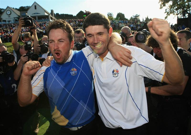 NEWPORT, WALES - OCTOBER 04:  (L-R) Graeme McDowell and Padraig Harrington of Europe celebrate following Europe's victory in the 2010 Ryder Cup at the Celtic Manor Resort on October 4, 2010 in Newport, Wales.  (Photo by Sam Greenwood/Getty Images)