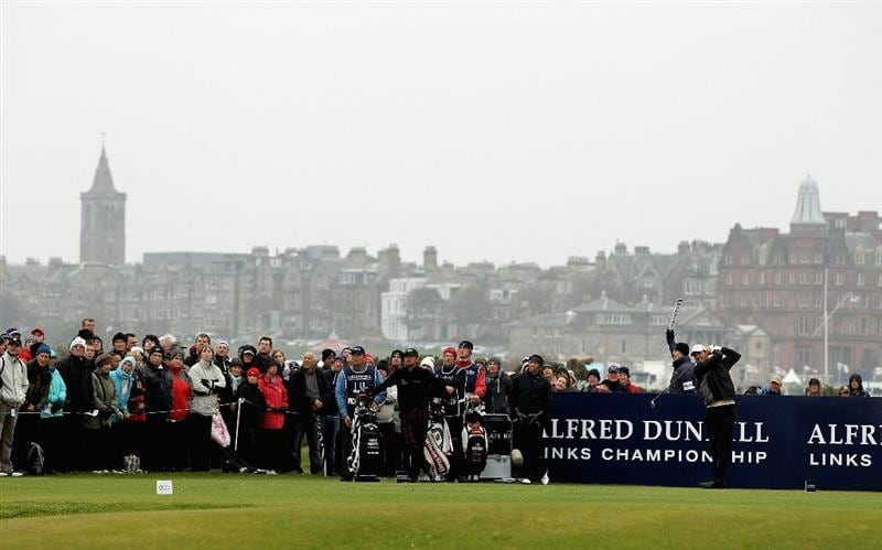 ST ANDREWS, SCOTLAND - OCTOBER 10:  Padraig Harrington of Ireland drives off the fourth tee during the final round of The Alfred Dunhill Links Championship at The Old Course on October 10, 2010 in St Andrews, Scotland.  (Photo by Ross Kinnaird/Getty Images)