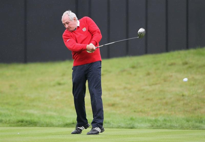 NEWPORT, WALES - SEPTEMBER 29:  Gareth Edwards hits a shot during a Past Captains round prior to the 2010 Ryder Cup at the Celtic Manor Resort on September 29, 2010 in Newport, Wales.  (Photo by Jamie Squire/Getty Images)