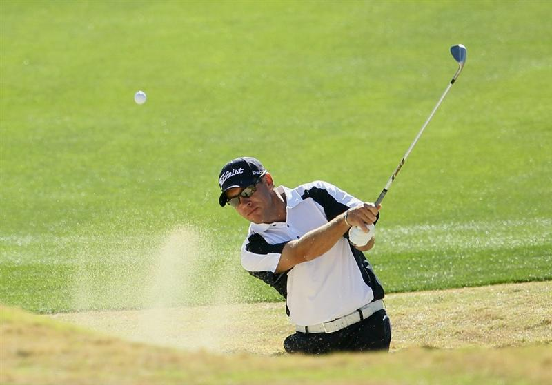 LA QUINTA, CA - JANUARY 20:  Brian Davis of England hits a bunker shot to the 16th green during the second round of the Bob Hope Classic at the Nicklaus Private course at PGA West on January 20, 2011 in La Quinta, California.  (Photo by Jeff Gross/Getty Images)