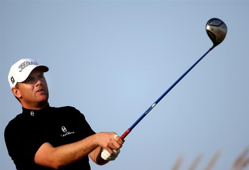 DOHA, QATAR - JANUARY 23:  Robert Karlsson of Sweden watches his tee-shot on the 16th hole during the second round of  the Commercialbank Qatar Masters at Doha Golf Club on January 23, 2009 in Doha, Qatar.  (Photo by Andrew Redington/Getty Images)
