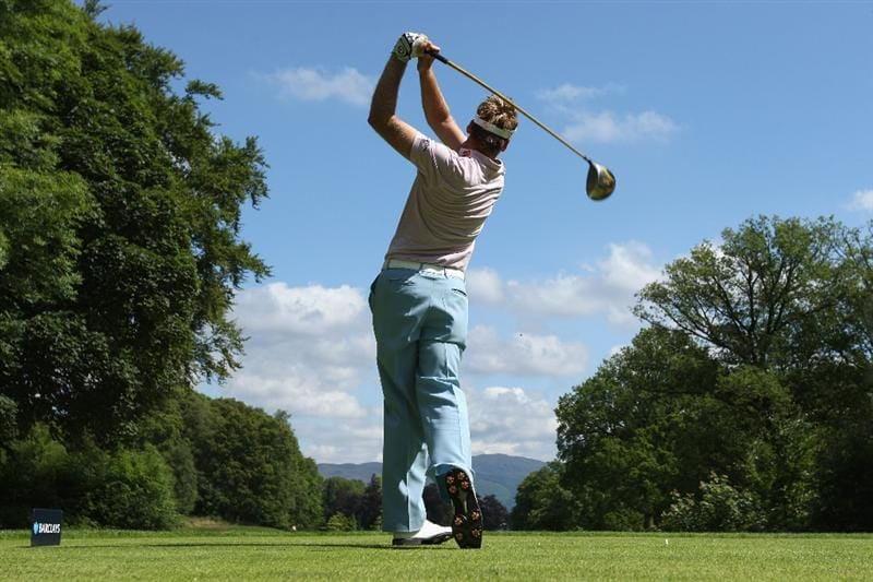 LUSS, UNITED KINGDOM - JULY 11:  Ian Poulter of England tees off on the 16th hole during the Third Round of The Barclays Scottish Open at Loch Lomond Golf Club on July 11, 2009 in Luss, Scotland. (Photo by Andrew Redington/Getty Images)