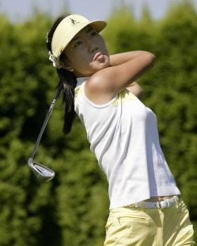 Soo-Yun Kang follows her approach shot during the second round of the 2005 Safeway Classic at Columbia Edgewater Country Club, in Portland, OR, Aug. 20, 2005. Kang was leading after 10 holes in the second round.Photo by Allan Campbell/WireImage.com