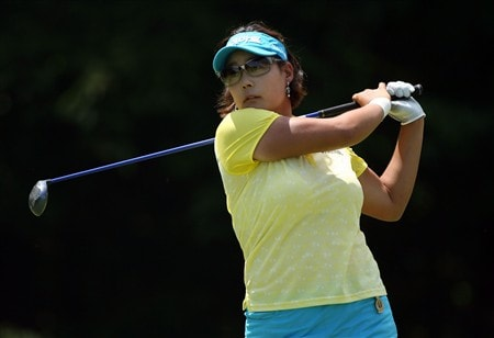 HAVRE DE GRACE, MD - JUNE 08:  Jee Young Lee of South Korea hits her tee shot on the 4th hole during the final round of the McDonald's LPGA Championship at Bulle Rock Golf Course on June 8, 2008 in Havre de Grace, Maryland.  (Photo by Andy Lyons/Getty Images)