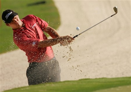 PONTE VEDRA BEACH, FL - MAY 07:  Nicholas Thompson plays from a bunker during practice for the THE PLAYERS Championship on THE PLAYERS Stadium Course at TPC Sawgrass on May 7, 2008 in Ponte Vedra Beach, Florida.  (Photo by Sam Greenwood/Getty Images)