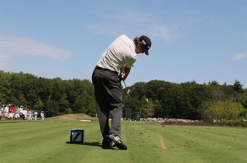 NORTON, MA - SEPTEMBER 5:  Sean O'Hair hits a tee shot during the second round of the Deutsche Bank Championship held at TPC Boston on September 5, 2009 in Norton, Massachusetts. (Photo by Jim Rogash/Getty Images)