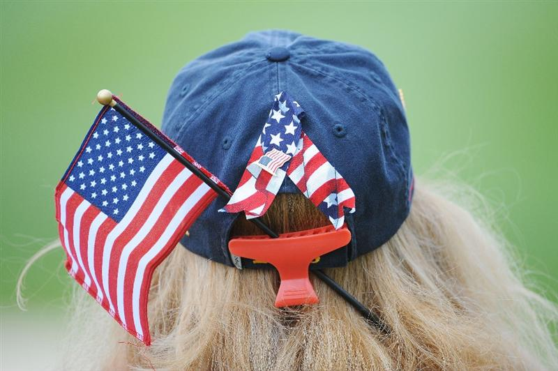 LOUISVILLE, KY - SEPTEMBER 20:  An American team supporter watches the play during the morning foursome matches on day two of the 2008 Ryder Cup at Valhalla Golf Club on September 20, 2008 in Louisville, Kentucky.  (Photo by Sam Greenwood/Getty Images)