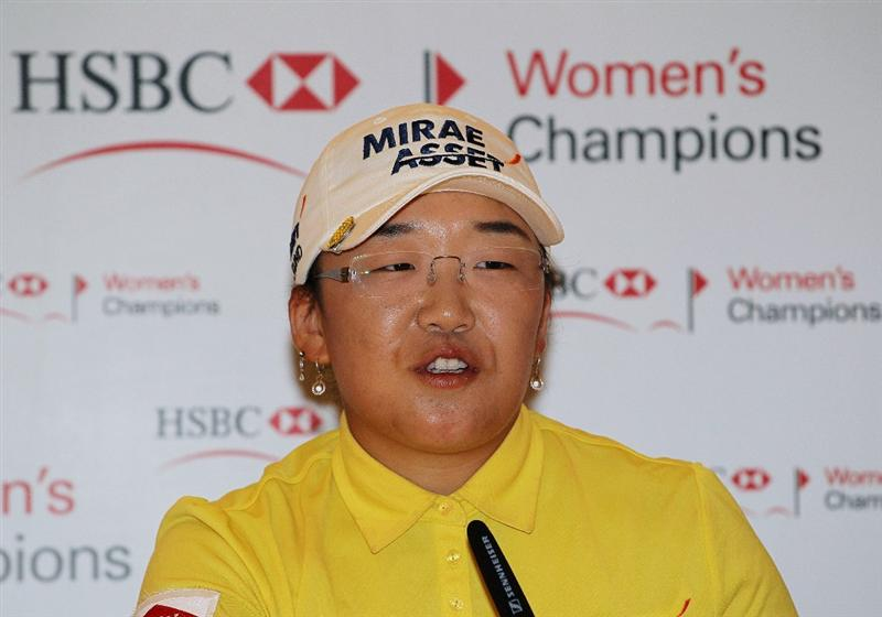 SINGAPORE - FEBRUARY 24:  Jiyai Shin of South Korea talks to the media during a press conference following the Pro-Am for the HSBC Women's Champions at Tanah Merah Country Club on February 24, 2010 in Singapore, Singapore.  (Photo by Andy Lyons/Getty Images)