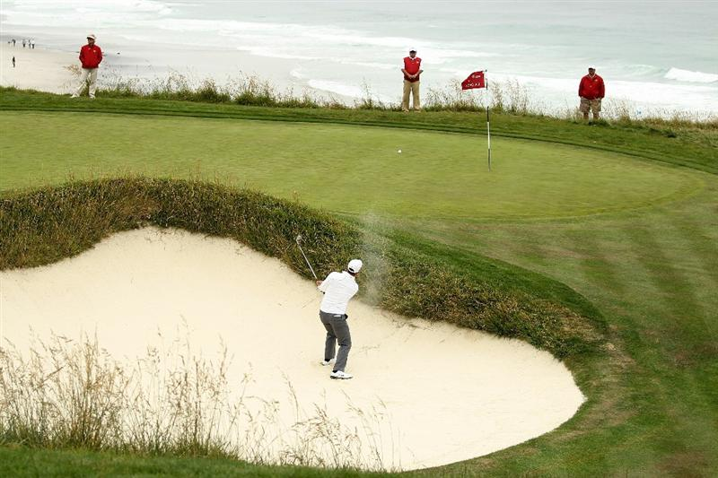 PEBBLE BEACH, CA - JUNE 18:  Paul Casey of England plays a bunker shot on the ninth hole during the second round of the 110th U.S. Open at Pebble Beach Golf Links on June 18, 2010 in Pebble Beach, California.  (Photo by Ross Kinnaird/Getty Images)