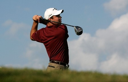 TULSA, OK - AUGUST 09:  Arron Oberholser hits his tee shot on the first hole during the first round of the 89th PGA Championship at the Southern Hills Country Club on August 9, 2007 in Tulsa, Oklahoma.  (Photo by Streeter Lecka/Getty Images)