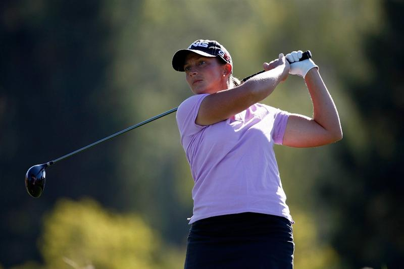 DANVILLE, CA - SEPTEMBER 24:  Angela Stanford tees off on the 13th hole during the first round of the CVS/pharmacy LPGA Challenge at Blackhawk Country Club on September 24, 2009 in Danville, California.  (Photo by Jonathan Ferrey/Getty Images)