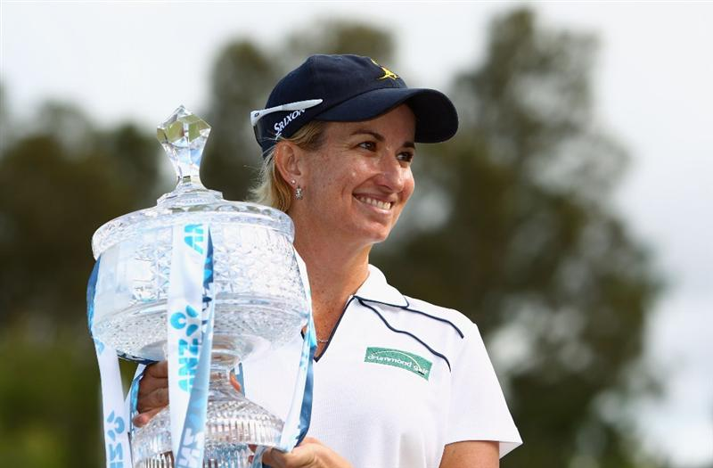 GOLD COAST, AUSTRALIA - MARCH 07:  Karrie Webb of Australia celebrates with her winners trophy after round four of the 2010 ANZ Ladies Masters at Royal Pines Resort on March 7, 2010 in Gold Coast, Australia.  (Photo by Ryan Pierse/Getty Images)