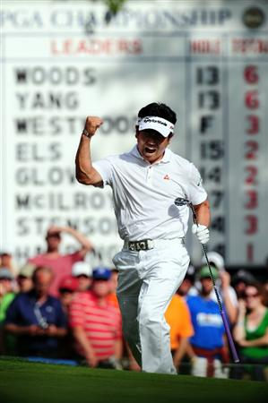 CHASKA, MN - AUGUST 16:  Y.E. Yang of South Korea celebrates after holing out for eagle on the 14th hole during the final round of the 91st PGA Championship at Hazeltine National Golf Club on August 16, 2009 in Chaska, Minnesota.  (Photo by Stuart Franklin/Getty Images)