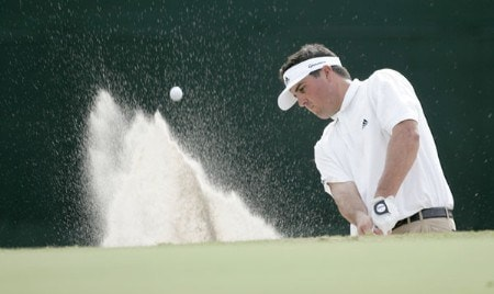 Pat Perez hits from the bunker on the 18th hole during the second round of the Funai Classic held on the Palm and Magnolia courses at Walt Disney World Resort on Friday, October 21, 2005.Photo by Sam Greenwood/WireImage.com