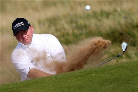 TROON, UNITED KINGDOM - JULY 25:  Ian Woosnam of Wales plays his second shot on the par three 5th hole during the second round of the Senior Open Championships at Royal Troon on July 25,2008 in Troon,Scotland.  (Photo by Ross Kinnaird/Getty Images)