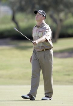Ted Purdy reacts to a missed putt on the third hole during the final round of the 2005 Michelin Championship at Las  Vegas Sunday, Oct. 16, 2005, at the The Players Club at Summerlin in Las Vegas, Nevada.Photo by Grant Halverson/WireImage.com