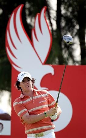 ABU DHABI, UNITED ARAB EMIRATES - JANUARY 23:   Rory McIlroy of Northern Ireland on the 5th tee during the third round of the Abu Dhabi Golf Championship at the Abu Dhabi Golf Club on January 23, 2010 in Abu Dhabi, United Arab Emirates.  (Photo by Ross Kinnaird/Getty Images)